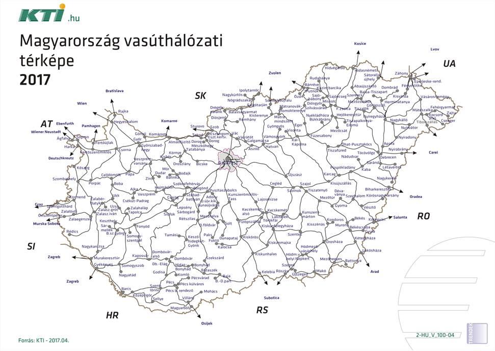 Magyarorszag Vasuthalozati Terkepe 2017 Kti
